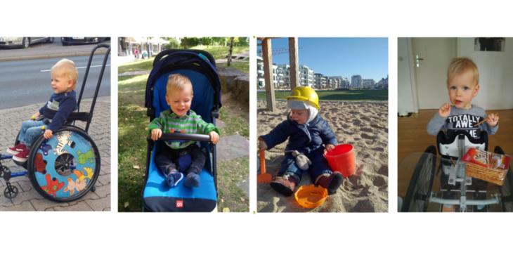 Bild zeigt vier kleine Bilder mit kleinem Jungen im Rollstuhl auf einem Gehweg, im Kinderwagen im Sandkasten sowie in der Wohnung.